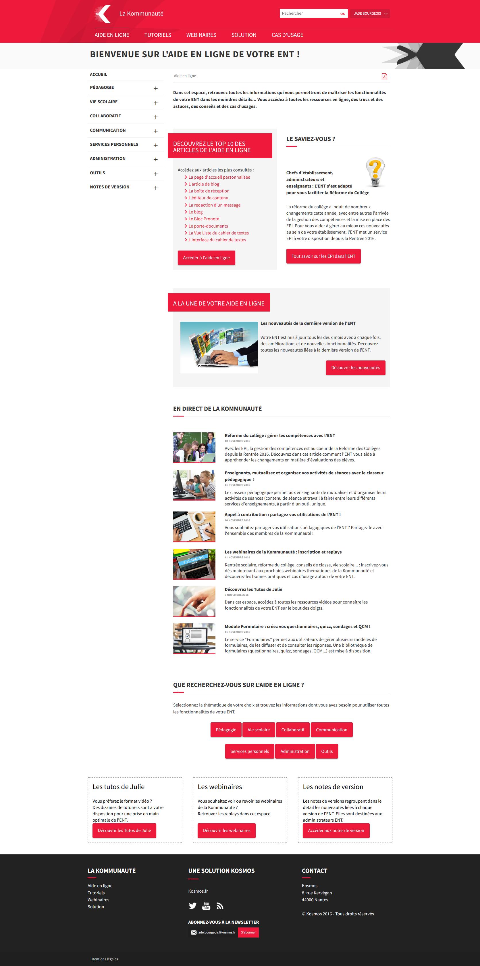 page accueil aide en ligne