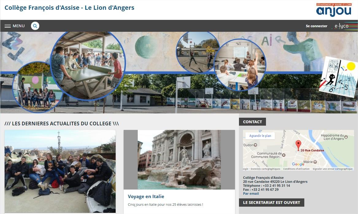Page d'établissement Lyon d'Angers